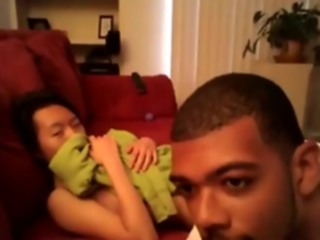 Asian girl makes a sextape with her black bf on the sofa interracial asian hardcore
