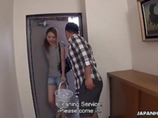 Japanese cleaning lady, Nana Sakura had sex, uncensored asian blowjob brunette
